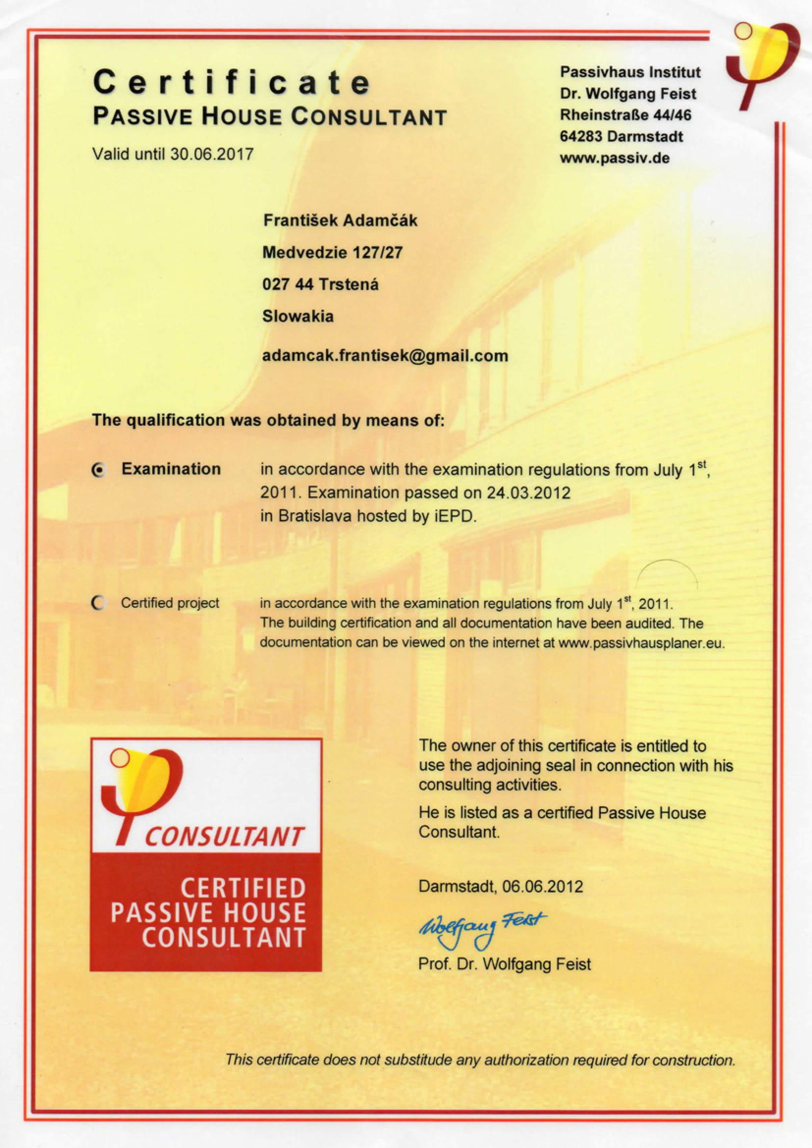 Certifikát PHI pre konateľa DetailDom-u
