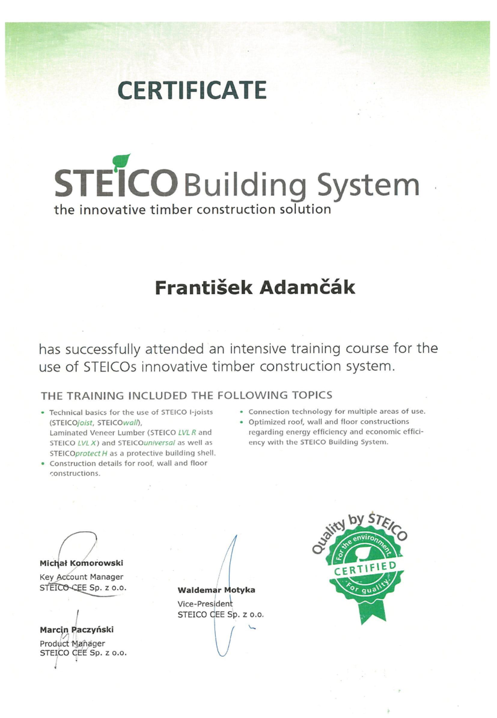 Certifikát STEICO pre konateľa spoločnosti