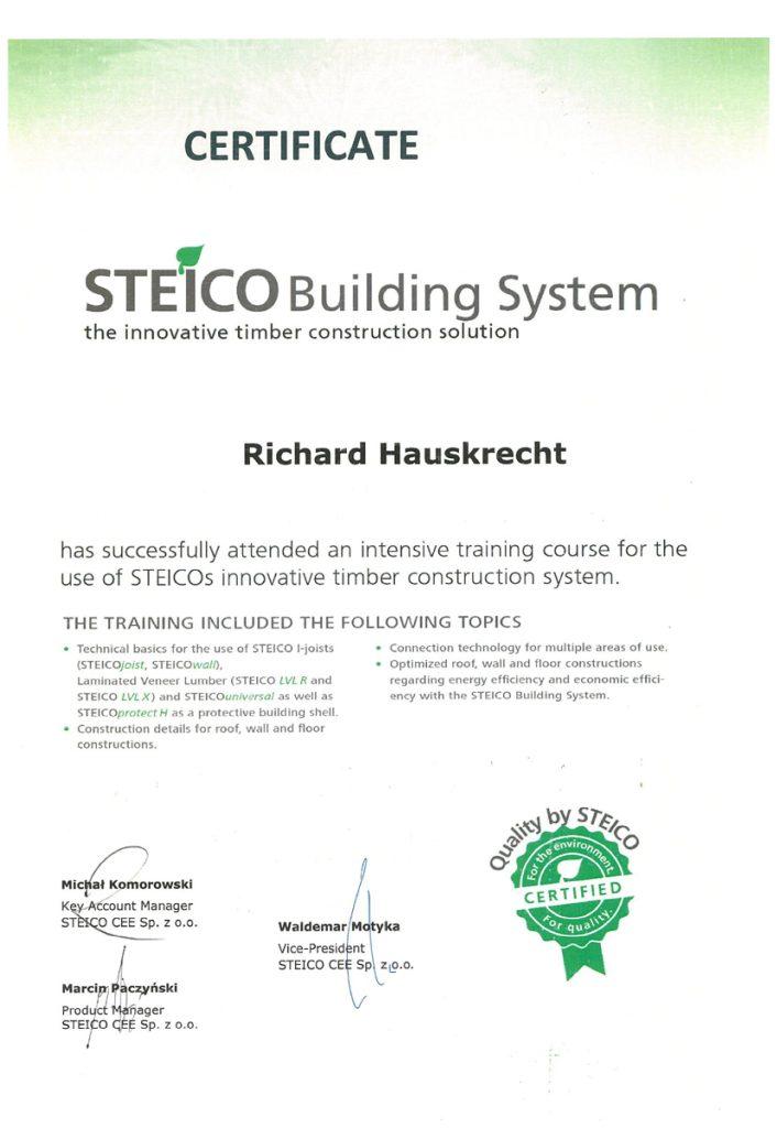 Certifikát na podporu výstavby pasívnych domov Hauskrecht Steico